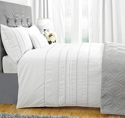 ZIGGUO 100% Cotton Embellished Stripes White Duvet Cover California King, Delicately Detailed Lace Trims, Lightweight, Breathable Bedding Set Quilt Cover for Summer, 104