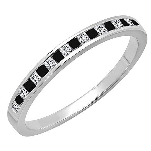 - Dazzlingrock Collection 0.25 Carat (ctw) 14K White Gold Princess Cut Black & White Diamond Wedding Band 1/4 CT (Size 7.5)