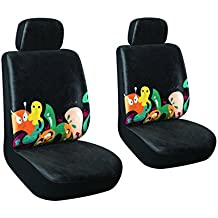 AutoJoy Soft Velvet Car Seat Covers with Animals Digital Printing,Washable,Breathable,for Universal Size Car-Front Seat