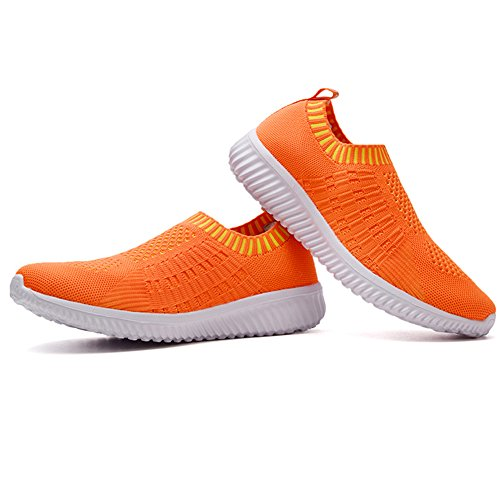 02 Walking On Orange Women's Mesh Shoes Athletic Breathable Slip LANCROP Lightweight Sneakers xPg88Fq