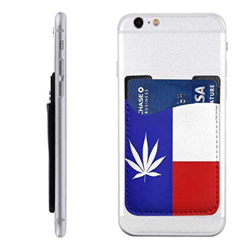Texas Weed State Flag Phone Card Case Universal Stick-on Cell Phone Wallet Unisex 2.4