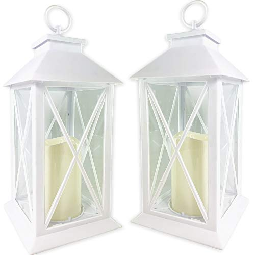 BANBERRY DESIGNS White Decorative LED Lantern with Cross Bar Design - Lanterns with Flameless Pillar Candles Included - 5 Hour Timer Included - Hanging or Sitting Decoration - Set of 2-13