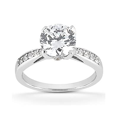 093a4110b7f2bf 1 1/2 Carat CZ Classic Engagement Ring in 14K White Gold | Amazon.com