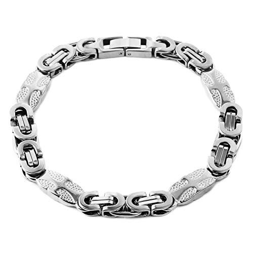 HZMAN 9MM Mens Stainless Steel Cross Bike Bracelet Silver Gold Tone Byzantine Chain Jewelry 9 Inches (9 Mm Byzantine Bracelet)