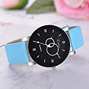 Noopvan Women's Casual Large Face Quartz Watches Ladies Simple Style Fashion Leather Band Wristwatch Analog Wrist Watches