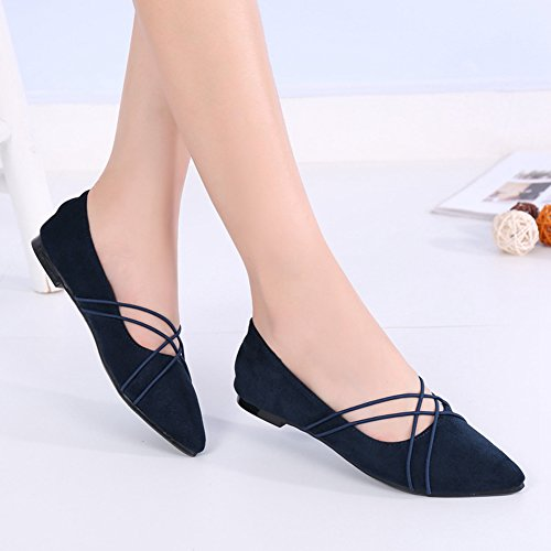 Btrada Womens Flat Dress Shoes Shoes Mocassini Elastici Mocassini Scarpe Da Punta Ballerine Blu