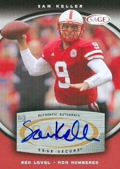 99769 Sam Keller Autographed Football Card Nebraska 2008 Sage Rookie Red No. A37 ()