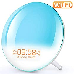 Smart Wake Up Light Alarm Clock - Sunrise Alarm Clock Supports WiFi Control with FM Radio, Sunrise/Sunset Simulation, 4 Alarms, Snooze Function, 7 Colors, 7 Natural Sound & FM Radio, Digital LED Clock