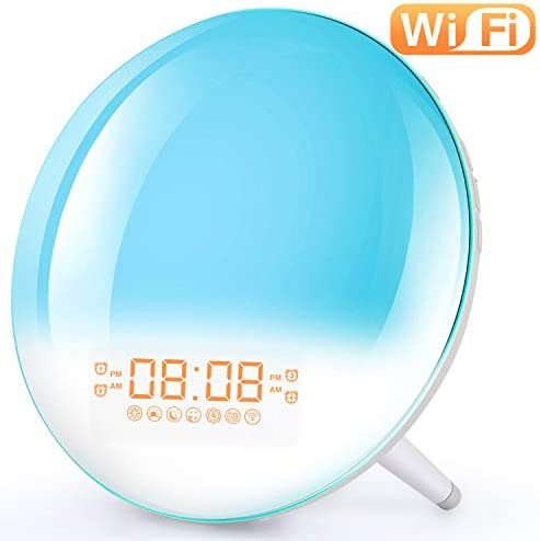 Smart Wake Up Light Alarm Clock – Sunrise Alarm Clock Bedside Night Light Supports WiFi, Sunrise Sunset Simulation, 4 Alarms, Snooze Function, 7 Colors, 7 Natural Sound FM Radio