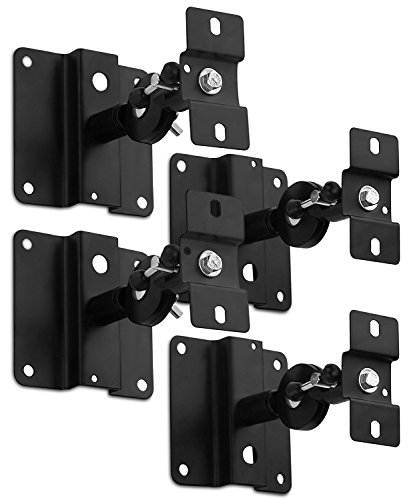 Mount-It! MI-SB03 Quad Low Profile Heavy Duty, Anti-Theft, Universal, Adjustable, Articulating, Hi-Fi Audio Media, 5.1 Channel Surround Sound, Satellite Speaker Ceiling and Wall Mount Brackets, Black,4 PCS