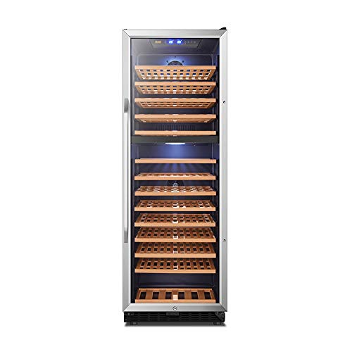 Dual Zone Wine Cooler Built-in or Freestanding Compressor Refrigerator, 160 Bottles Red and White Wine Cellar, 71.3