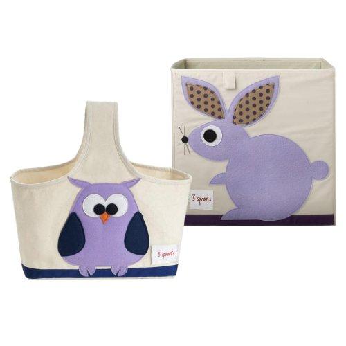 3 Sprouts Nursery Storage Box & Caddy, Rabbit/Owl
