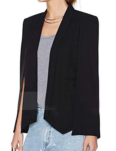 Women's Long Shawl Lapel Slit Sleeve Cloak Capes Jacket 2XXL Open Front Long Crepe Blazer Cape Coat Plus ()