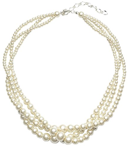 Veenajo Imitation Pearl Chunky Collar Necklace Twisted Knot Triple Multi Strands for Womens&Girls (beige)