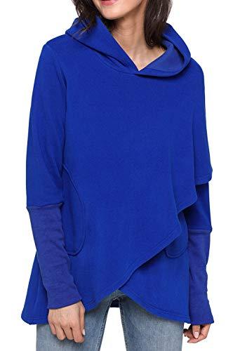 Shawhuwa Womens Long Sleeve Asymmetric Hem Hoodie Sweatshirt Tunic Tops Blouse XXL Blue -