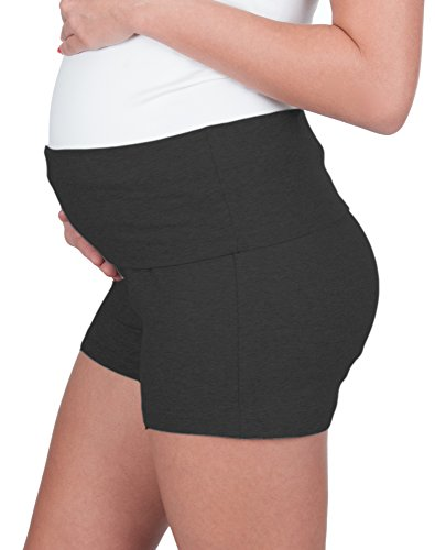 My Bella Mama Maternity Yoga Shorts - Fold Over Waist Band (Large, Heather Grey)
