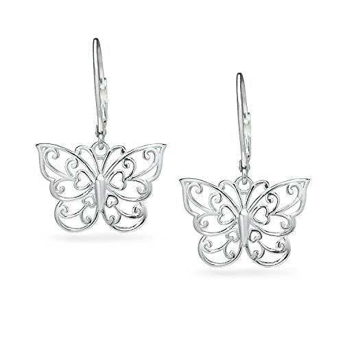 - River Island Classic Sterling Silver Filigree Butterfly Leverback Dangle Drop Earrings