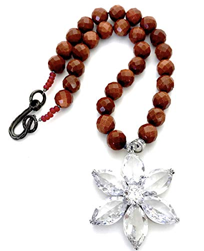 (Goldstone Beaded Necklace with a Large Swarovski Crystal Flower Drop by Shop DAYLE)