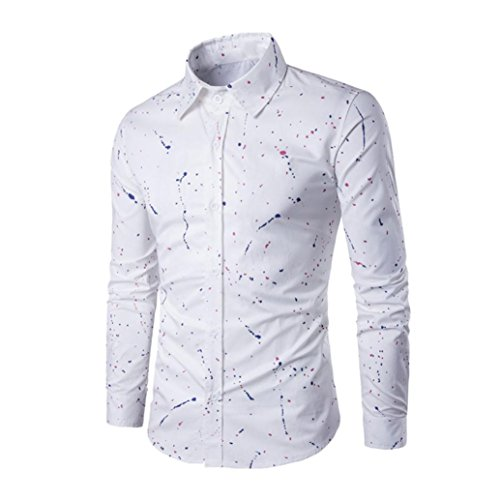 Clearance! Men T-Shirt, Among Fashion Spray-Printed Long Sleeve Blouse Casual Slim Fit Stylish Shirt Abstract Flower Tops (2XL, White)