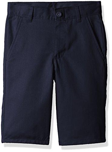 Twill Pant Short (Nautica Boys' Slim Size Uniform Flat Front Twill Short, Navy Blue Slim, 10)