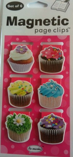 Cupcakes Mini Photo Magnetic Page Clips Set of 6 by Re-marks ()