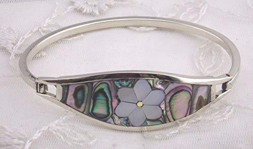 Alpaca Silver Bangle Bracelet For Women Abalone Shell flower Fashion - Alpaca Abalone