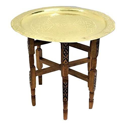 Large Gold Coffee Table Tray: Amazon.com: Engraved Large Moroccan Tray Table With Cedar