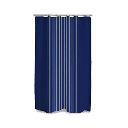 Amazon Style Selections Polyester Navy Striped Shower Curtain