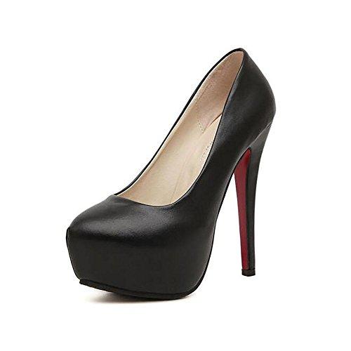 L'Europe en cuir imperméable à l'eau Les Shallow Mouth Noir Superfine Pompe Princesse Chaussures Femmes , black , 40