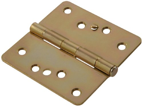 """The Hillman Group The Hillman Group 852866 4"""" Security Stud Hinge - 1/4 Round Corner - Full Mortise - Zinc & Yellow Dichromate Finish 1-Pack"""