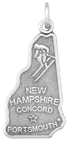 Oxidized Sterling Silver Charm, State of New Hampshire, 1 inch