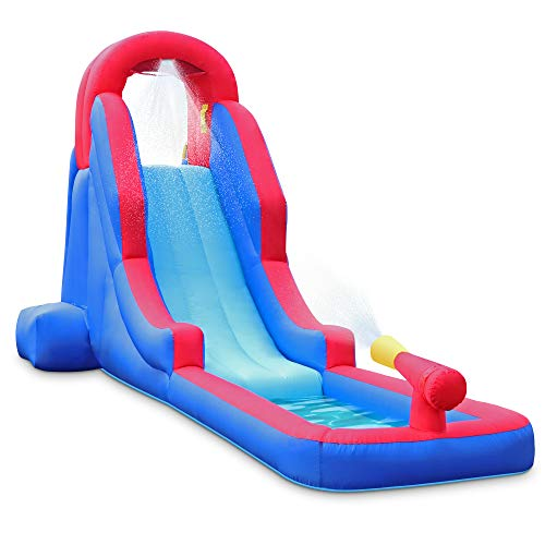 Deluxe-Inflatable-Water-Slide-Park--Heavy-Duty-Nylon-for-Outdoor-Fun-Climbing-Wall-Slide-Small-Splash-Pool--Easy-to-Set-Up-Inflate-with-Included-Air-Pump-Carrying-Case