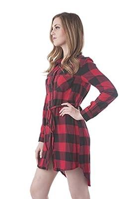 Long Sleeve Plaid Checkered Belted Shirt Dress