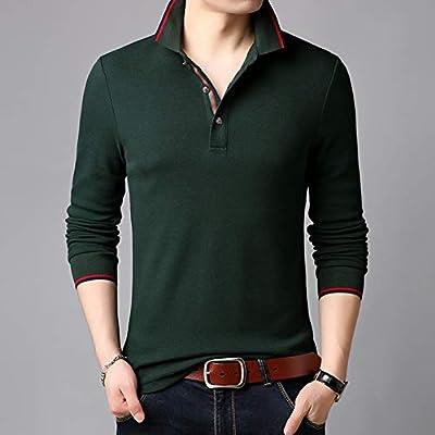 NISHIPANGZI Solid algodón Polo Hombres Vestidos de Verde y Negro ...