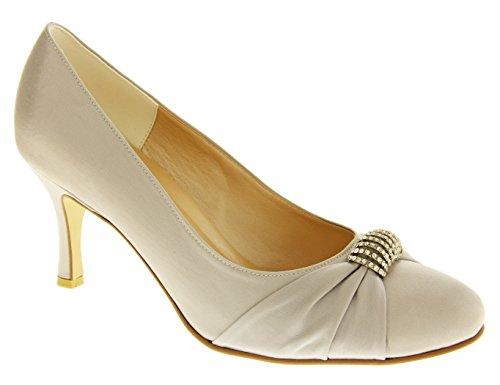 de Boda Diamante Satén de Dama Mujer Sabatine Zapatos Plata de Honor wXxFIfgnqZ