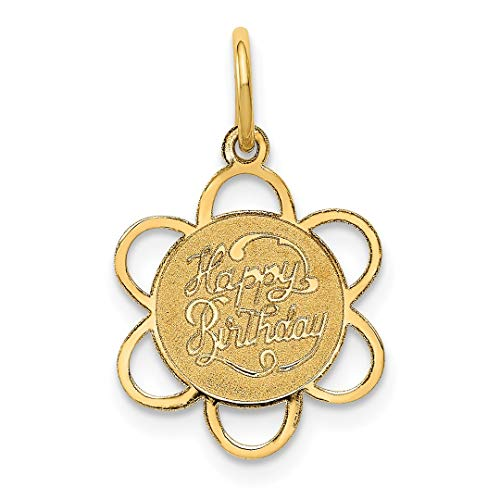 Yellow Scale 18th (14k Yellow Gold Happy Birthday Pendant Charm Necklace Special Day Fine Jewelry Gifts For Women For Her)