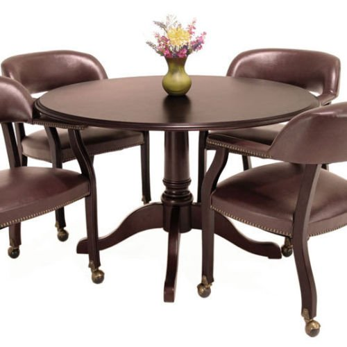 Traditional Round Conference Table and Chairs Set, Conference Meeting Office Room, Mahogany Finish (42