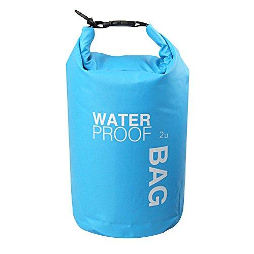 Eizur Wasserdichte Packsäcke in PVC Fold Dry Bag 2L/ 5L/ 10L/15L Stausack Packsack wasserdicht Packsack Trockentasche Beutel Rafting Tasche für Outdoor-Schwimm Rafting Wandern Camping Snowboarding(Grün/Blau/Weiß/Orange)