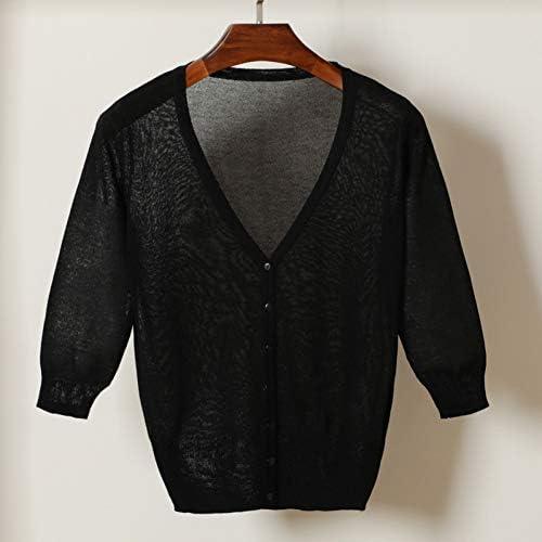 YUKNICO Summer Linen Cardigan V Collar Pleasantly Cool