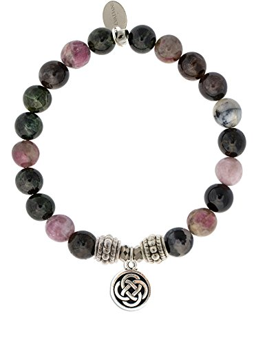 EvaDane Natural Tourmaline Gemstone Rope Bead Celtic Knot Charm Stretch Bracelet - Size 7 Inch ( ()
