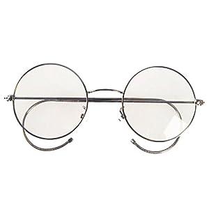 Agstum Retro Round Optical Rare Wire Rim Eyeglass Frame 49mm (Large size) (Gunmetal, 49mm)
