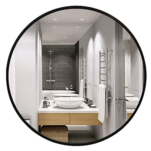 Round Bathroom Mirror Wooden Frame Wall Mirrors Vanity Makeup Mirror with Wall Hanging Fixing Hardware for Bathroom Washroom Gold 3