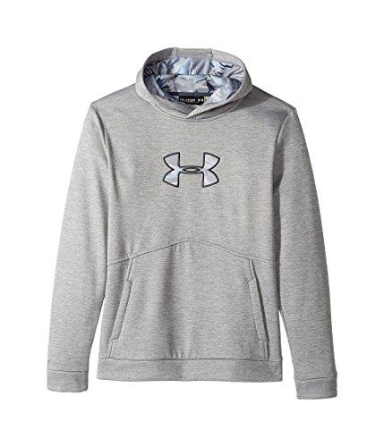 Under Armour Kids Boy's UA Icon Caliber Hoodie (Big Kids) True Gray Heather/Stealth Gray Sweatshirt
