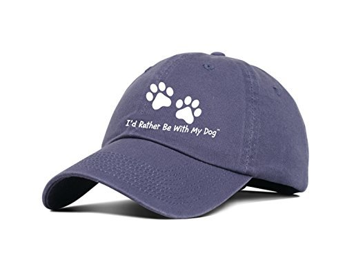 I'd Rather Be With My Dog Baseball Hat - Distressed Indigo Cotton/Embroidered Logo with A Bold Look/Unisex ()
