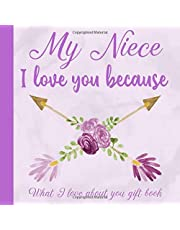 My Niece I Love You Because What I love About You Gift Book: Prompted Fill-in the Blank Personalized Journal   25 Reasons Why I Love You   Christmas, Birthday, Unique Present to Niece from Aunt