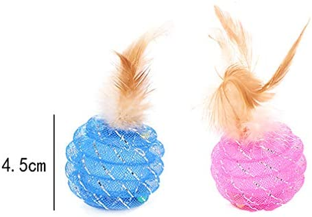 Fun Meows Interactive Cat Ball Toys with Feather,The Best Brightly Colored Cat Toys with Bells,Health Sport for Your Cat.Hour of Entertainment,Safe for Your Kitty,Pack of 4 3