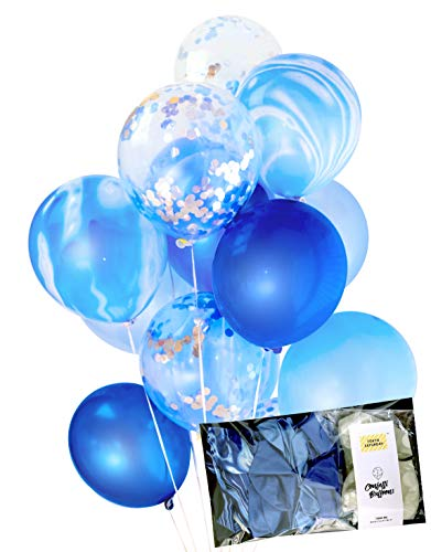 Blue and Silver Party Decoration Marble Confetti Balloons (Thickened 12 20 pcs, Ready to Inflate) for Wedding, Aladdin Birthday Party, Photobooth, Baby Shower (Blue Marble) - by TOKYO SATURDAY