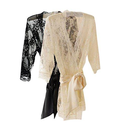 Women Sexy Lace Lingerie Sleepwear Nightwear Nightdress Robe (M, black)