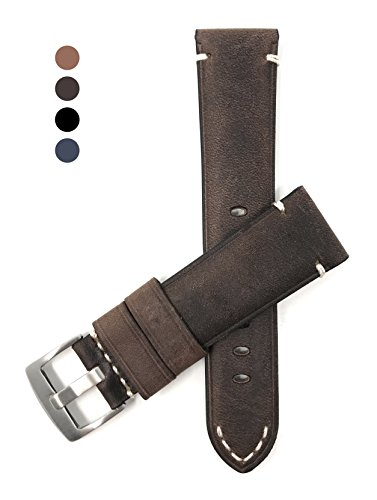 24mm Brown Vintage Watch Band Strap, Genuine Leather, White Stitch, Stainless Steel - Mens Brown Fossil Strap
