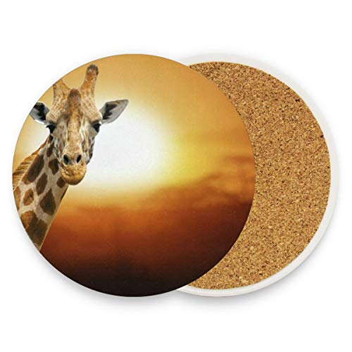 Giraffe On Sunset Coasters, Protect Your Furniture From Stains,Coffee, Cork Coasters Funny Housewarming Gift,Round Cup Mat Pad For Home, Kitchen Or Bar 1 Piece -